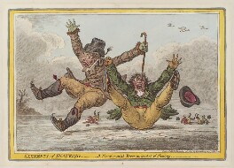 'Elements of skateing - a fundamental error in the art of skaiting', by James Gillray, published by  Hannah Humphrey - NPG D12852