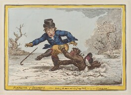 'Elements of skateing - making the most of a passing-friend, in a case of emergency!', by James Gillray, published by  Hannah Humphrey - NPG D12853