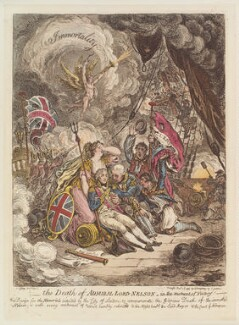 The death of Admiral Lord Nelson - in the moment of victory! (Horatio Nelson; Sir Thomas Masterman Hardy, 1st Bt), by James Gillray, published by  Hannah Humphrey - NPG D12856