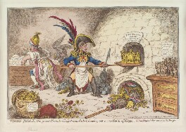 'Tiddy-doll, the great French-gingerbread-baker; drawing out a new batch of kings', by James Gillray, published by  Hannah Humphrey, published 23 January 1806 - NPG  - © National Portrait Gallery, London
