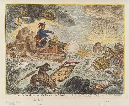 'Bruin in his boat, - or - the manager in distress', by James Gillray, published by  Hannah Humphrey - NPG D12869