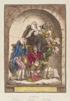 'Sketch for a monument of disappointed-justice', by James Gillray, published by  Hannah Humphrey - NPG D12870