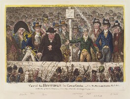 'View of the hustings in Covent Garden', by James Gillray, published by  Hannah Humphrey, and published by  J. Budd, and published by  Richard Bagshaw - NPG D12883