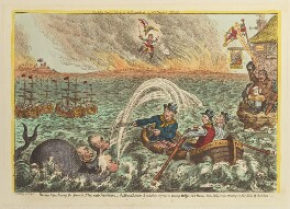 'British tars, towing the Danish fleet into harbour', by James Gillray, published by  Hannah Humphrey - NPG D12896