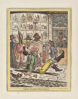 'Very slippy weather', by James Gillray, published by  Hannah Humphrey, after  John Sneyd - NPG D12901