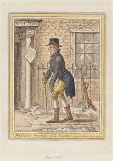 George Granville Leveson-Gower, 1st Duke of Sutherland ('Mæcenas, in pursuit of the fine arts'), by James Gillray, published by  Hannah Humphrey - NPG D12907