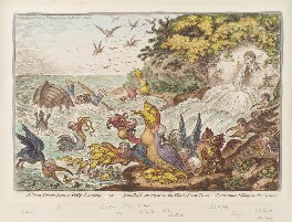 'A great stream from a petty-fountain; - or - John Bull swamped in the flood of new-taxes: - cormorants fishing in the stream', by James Gillray, published by  Hannah Humphrey, published 9 May 1806 - NPG D12908 - © National Portrait Gallery, London