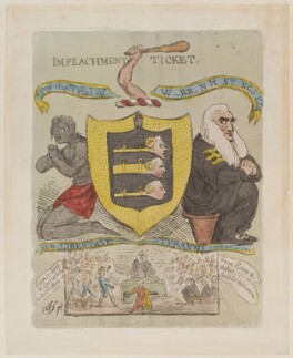 'Impeachment ticket. For the trial of W-rr-n H-st-ngs Esqr', by James Gillray - NPG D12943