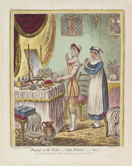'Progress of the toilet - The stays - Plate 1', by James Gillray, published by  Hannah Humphrey, published 26 February 1810 - NPG  - © National Portrait Gallery, London