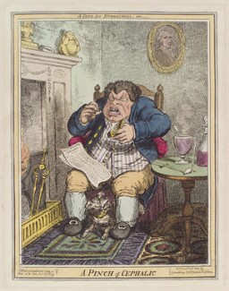 'A pinch of cephalic', by George Cruikshank, published by  George Humphrey, after  James Gillray, published 25 January 1822 - NPG  - © National Portrait Gallery, London