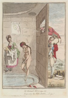 'Sir Richard Worse-than-sly, exposing his wife's bottom; - o fye!', by James Gillray, published by  William Humphrey - NPG D12980