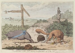 'Changing places; - alias; Fox stinking the badger out of his nest', by James Gillray, published by  William Humphrey, published 22 March 1782 - NPG D12982 - © National Portrait Gallery, London