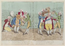 'The minister in. The minister out' (Charles James Fox; Frederick North, 2nd Earl of Guilford), by James Gillray, published by  William Humphrey, published 22 April 1782 - NPG D12983 - © National Portrait Gallery, London