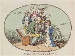 'Evacuation before resignation', by James Gillray, published by  Hannah Humphrey, published 21 May 1782 - NPG D12985 - © National Portrait Gallery, London