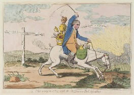 'A sun setting in a fog; with the old Hanover hack descending' (Charles James Fox; King George III), by James Gillray, possibly published by  John Williams - NPG D12992