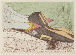 'Fashionable contrasts; - or - the Duchess's little shoe yeilding to the magnitude of the Duke's foot', by James Gillray, published by  Hannah Humphrey, published 24 January 1792 - NPG D13009 - © National Portrait Gallery, London