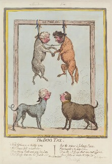 'The dog tax' (Richard Brinsley Sheridan; William Pitt; Charles James Fox; Henry Dundas, 1st Viscount Melville), by James Gillray, published by  Hannah Humphrey - NPG D13022