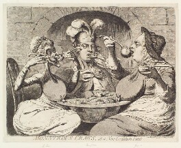 'Monstrous craws, at a new coalition feast' (Sophia Charlotte of Mecklenburg-Strelitz; King George IV; King George III), by James Gillray, published by  Samuel William Fores - NPG D13061