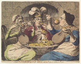 'Monstrous craws, at a new coalition feast' (Sophia Charlotte of Mecklenburg-Strelitz; King George IV; King George III), by James Gillray, published by  Samuel William Fores - NPG D13062