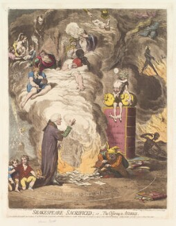 'Shakespeare sacrificed; - or - the offering to avarice' (John Boydell), by James Gillray, published by  Hannah Humphrey - NPG D13069