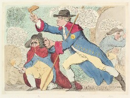 'Guy Vaux discovered in his attempt to destroy the King & the House of Lords - his companions attempting to escape -', by James Gillray, published by  Hannah Humphrey - NPG D13072