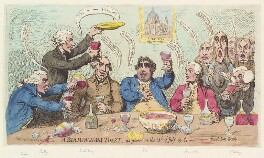 'A Birmingham toast, as given on the 14th of July, by the - Revolution Society', by James Gillray, published by  Samuel William Fores, published 23 July 1791 - NPG  - © National Portrait Gallery, London