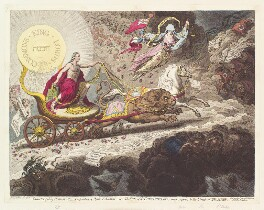 'Light expelling darkness, - evaporation of stygian exhalations, - or - the sun of the constitution, rising superior to the clouds of opposition', by James Gillray, published by  Hannah Humphrey - NPG D13083