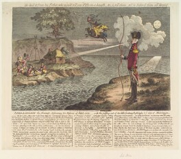 Francis Rawdon-Hastings, 1st Marquess of Hastings ('Lord Longbow, the alarmist, discovering the miseries of Ireland'), by James Gillray, published by  Hannah Humphrey - NPG D13092