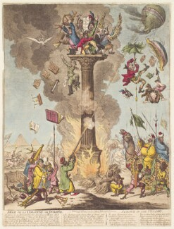 'Siege de la Colonne de Pompée - science in the pillory' (Napoléon Bonaparte?; Gaspard Monge, Comte de Péluse?), by James Gillray, published by  Hannah Humphrey - NPG D13095