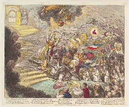 'End of the Irish farce of Catholic Emancipation', by James Gillray, published by  Hannah Humphrey - NPG D13110