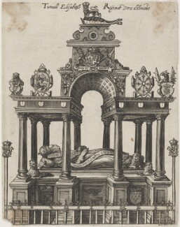 Monument to Queen Elizabeth I in Westminster Abbey, by Magdalena de Passe, or by  Willem de Passe, after  Maximilian Colte - NPG D13271