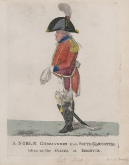 'A noble commander from South Gloucester taken on the Steyne at Brighton', by and published by Robert Dighton - NPG D13294
