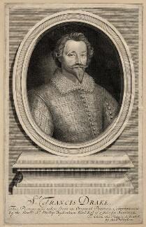 Unknown man engraved as Sir Francis Drake, by Robert White, published 1705 - NPG D13560 - © National Portrait Gallery, London