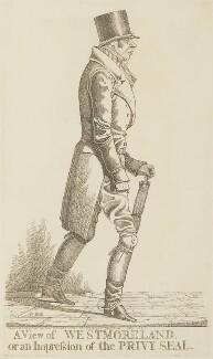 John Fane, 10th Earl of Westmorland ('A view of Westmoreland, or an impression of the Privy Seal'), by and published by Richard Dighton, published July 1821 - NPG D13355 - © National Portrait Gallery, London