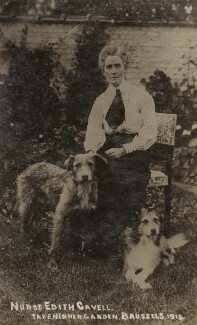 Edith Cavell with Don and Jack, by Unknown photographer, 1915 - NPG  - © National Portrait Gallery, London