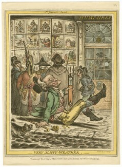 'Very slippy weather', by James Gillray, published by  Hannah Humphrey, after  John Sneyd - NPG D13700