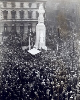 The unveiling of George Frampton's statue of Edith Cavell, by Reginald Silk - NPG x125690