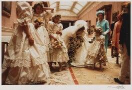 India Amanda Caroline Hicks; Sarah-Jane Gaselee; Diana, Princess of Wales; Clementine Hambro; Queen Elizabeth II, by Thomas Patrick John Anson, 5th Earl of Lichfield, 29 July 1981 - NPG x29570 - © Lichfield
