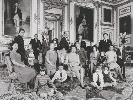 The official Silver Wedding group photograph of Queen Elizabeth II and Prince Philip, Duke of Edinburgh, by Patrick Lichfield - NPG x25290