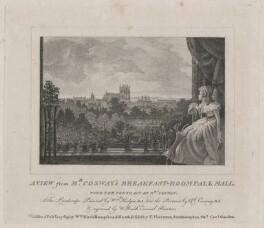 'A View from Mr Cosway's Breakfast-Room Pall Mall, with the Portrait of Mrs Cosway', by and published by William Russell Birch, sold by  Theophilus Thornton, after  Richard Cosway, and after  William Hodges - NPG D13728