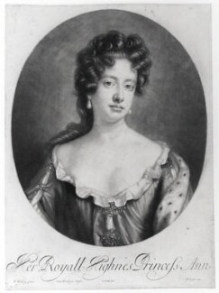 Queen Anne when Princess of Denmark, by Robert Williams, published by  Edward Cooper, after  Willem Wissing - NPG D19449