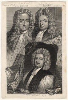 Henry St John, 1st Viscount Bolingbroke; Robert Harley, 1st Earl of Oxford; Francis Atterbury, by Thomas Abiel Prior, after  Sir Godfrey Kneller, Bt - NPG D17870