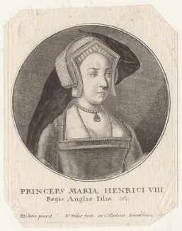 Queen Mary I when Princess Mary, by Wenceslaus Hollar, after  Hans Holbein the Younger - NPG D8050
