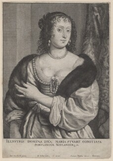 Frances Weston (née Stuart), Countess of Portland, by Wenceslaus Hollar, published by  Johannes Meyssens, after  Sir Anthony van Dyck - NPG D8701