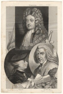 Robert Walpole, 1st Earl of Orford; James Wolfe; William Pitt, 1st Earl of Chatham, by Thomas Abiel Prior, after  Unknown artist, and after  J.S.C. Schaak, and after  Richard Brompton - NPG D17872