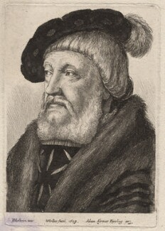 Probably Sir William Butts, by Wenceslaus Hollar, published by  Adam Alexius Bierling, after  Hans Holbein the Younger - NPG D7975
