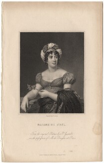 Anne Louise Germaine (née Necker), Madame de Staël-Hollstein, by Edward Scriven, published by  Charles Knight, after  François Pascal Simon, Baron Gérard - NPG D13758
