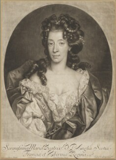 Mary of Modena, by John Smith, published by  Alexander Browne, after  Nicolas de Largillière - NPG D17883