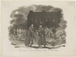 The unexpected meeting of Lord Wellington and Blucher at La Belle Alliance, by Unknown artist - NPG D13773