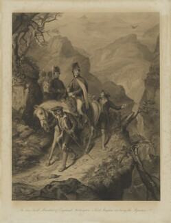 The late Field Marshals of England; Wellington & Lord Raglan, crossing the Pyrenees, 1813, by William Greatbach, by  Robert Wallis, after  Thomas Jones Barker - NPG D13774